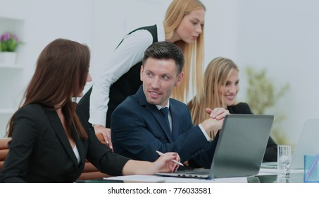 Cheerful businessman discussing a new business project with the