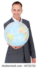 Cheerful businessman holding a terreatrial globe isolated on a white background