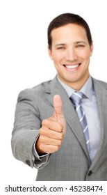 Cheerful businessman with thumb up isolated on a white background