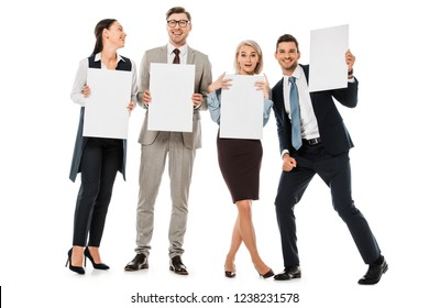 cheerful businesspeople holding empty boards isolated on white