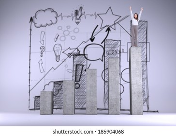 Cheerful businesswoman on bar chart depicting growth