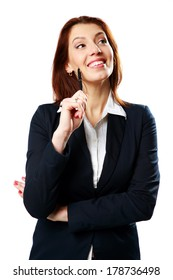 Cheerful businesswoman woman holding pen isolated on white background