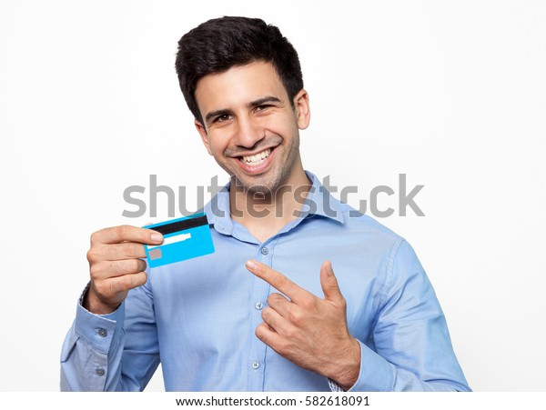 Cheerful cardholders looking at camera