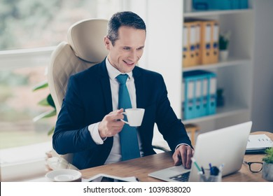 Cheerful careless qualified smart clever rich business person having a break at work drinking tea and typing email to friends and colleagues