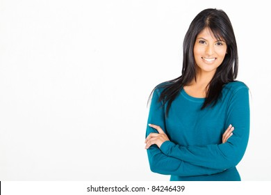 cheerful casual Hispanic woman on white