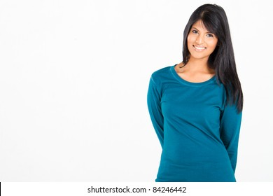 cheerful casual Hispanic woman on white