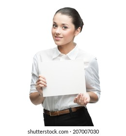 cheerful caucasian businesswoman holding sign isolated on white