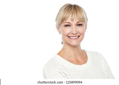 Cheerful caucasian lady posing in casuals isolated on white background.