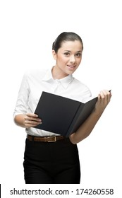 cheerful caucasian smiling young businesswoman holding book isolated on white