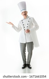 Cheerful chef cook posing on a white background