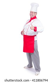 cheerful chef standing with gesture thumb up isolated on white background