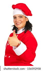 Cheerful chef woman giving thumb up isolated on white background