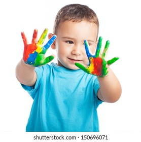 cheerful child with painted hands on white background