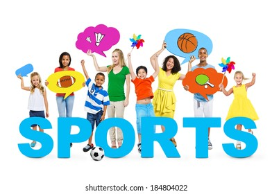 Cheerful Children and Women With The Word Sports