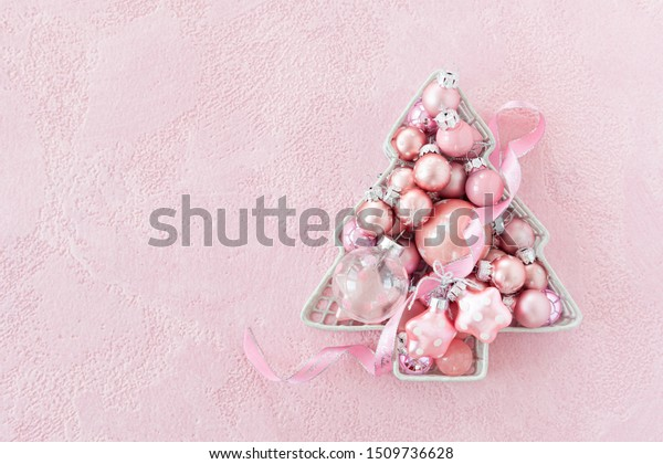 Cheerful Christmas background with festive christmas ornaments