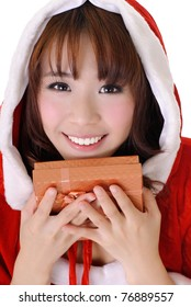 Cheerful Christmas girl, half length closeup portrait on white background.