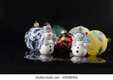 Cheerful Christmas snow man isolated
