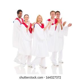 cheerful church choir performing on white background