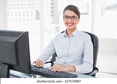 Cheerful classy brown haired businesswoman typing on a computer in bright office