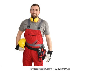 cheerful construction worker - craftsman in work clothes on white background - insulated