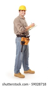 Cheerful contractor taking notes while looking at camera