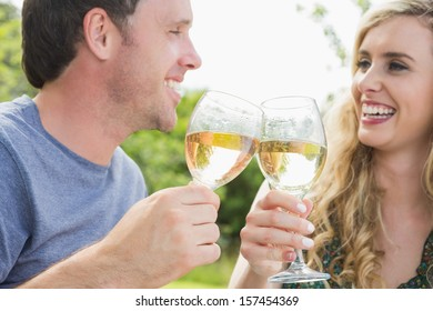 Cheerful couple toasting with white wine and looking at each other