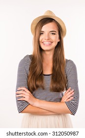 cheerful cute girl  in a hat smiling