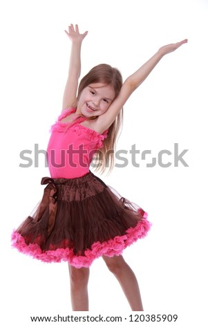 77c9afd29 Cheerful Cute Young Girl Dancing Stock Photo (Edit Now) 120385909 ...