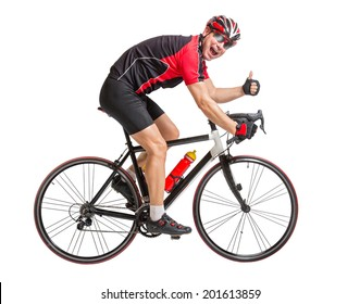 Cheerful cyclist with winning gesture riding a bike isolated on white background. Cyclist showing thumbs-up gesture. Victorious gesture on the cycling race. Successful biker with thumbs up.