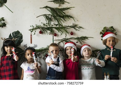 Cheerful diverse kids at Christmas