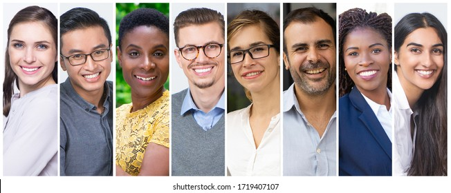 Cheerful diverse young and middle aged people isolated portrait set. Smiling attractive men and women of different ages and races multiple shot collage. Business people concept