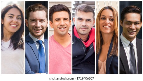 Cheerful diverse young people outdoor portrait set. Smiling men and women of different races multiple shot collage. Positive human emotions concept