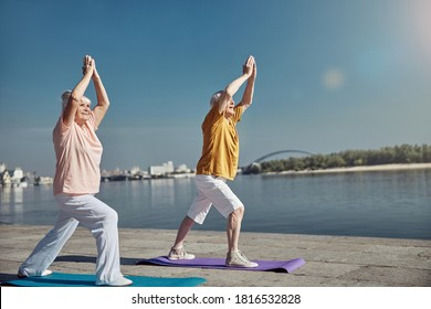 Cheerful elderly couple standing with their arms raised above the heads on the yoga mats