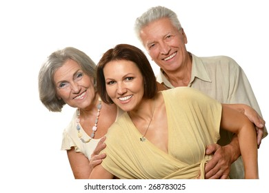 cheerful elderly parents with adult daughter on a white background