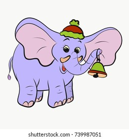 Cheerful elephant with a christmas bell