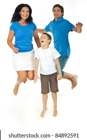 Cheerful family jumping together isolated on white background
