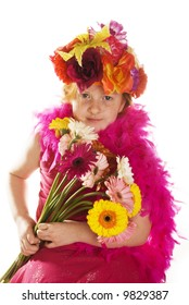 cheerful flowerchild with hat and bunch flowers