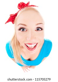 Cheerful funny girl isolated on white, fish eye lens shot