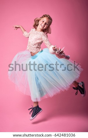 5a9410d6a Cheerful Girl Beautiful Clothes Posing Studio Stock Photo (Edit Now ...