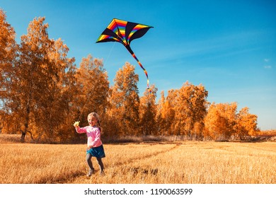 A  cheerful girl with blond hair smiles, enjoys nature and plays with a kite on a warm autumn sunny day in the background of a field and yellow trees. The concept of livestyle and family recreation