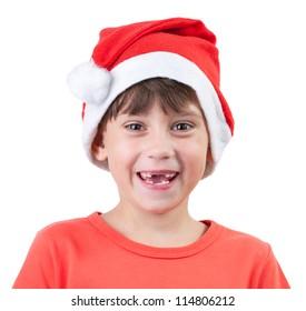 Cheerful girl in a cap of Santa Claus