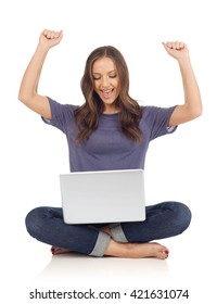 Cheerful girl with laptop