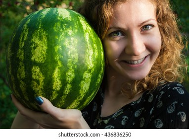 Cheerful Girl with Watermelon