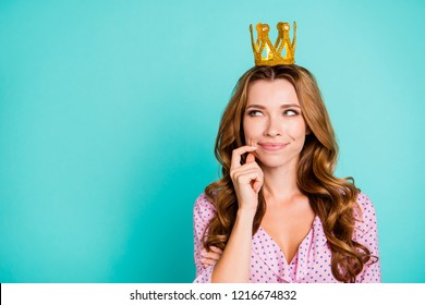 Cheerful glad nice beautiful attractive pretty lady with her hairstyle she look aside touch face by hand isolated on shine turquoise background with copy space for text