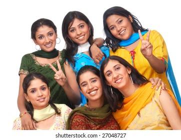 cheerful group of girls