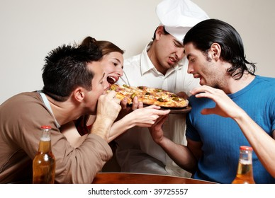 Cheerful group of youth in a pizza