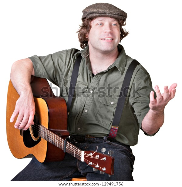 Cheerful guitar player with arm extended on isolated background