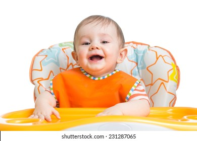 cheerful happy baby child waiting for food