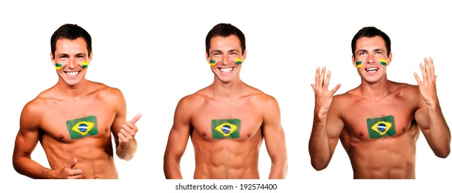 Cheerful happy brazilian football fan with flag on his body and face, isolated on white