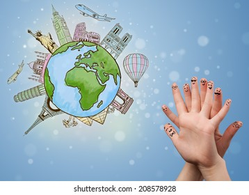 Cheerful happy smiling fingers with famous landmarks of the globe